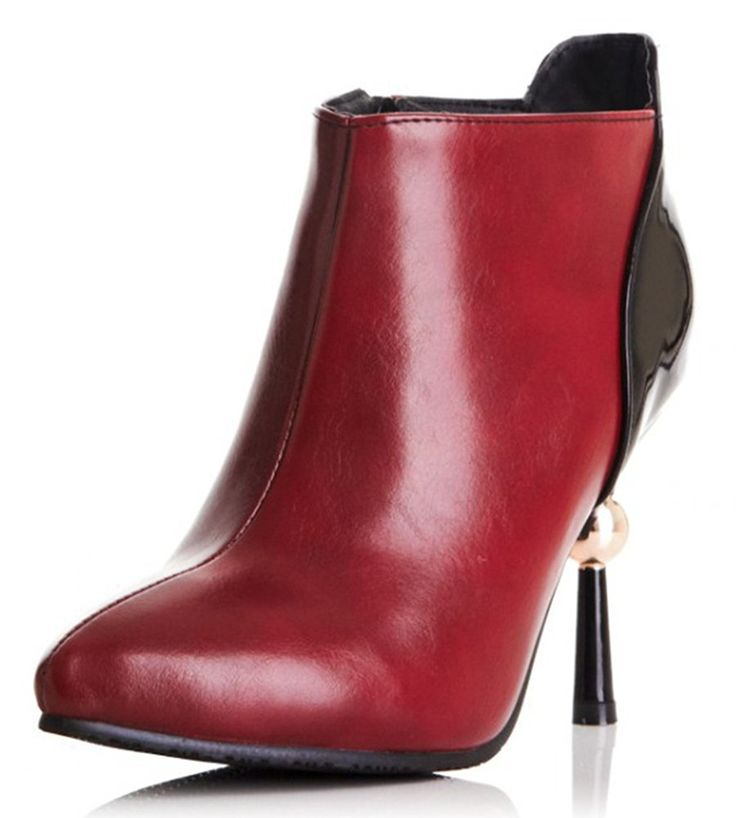 Sfnld Women's Sexy Pointed Toe Ankle High Unique Stiletto Heel Zip Boots * Click image to review more details. (Amazon affiliate link)