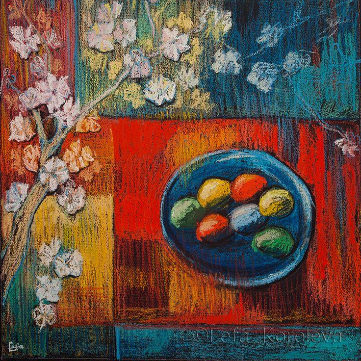 """April"" / ""Апрель"" materials: paper, pastel материалы: бумага, пастель size/размер: 45x45cm"