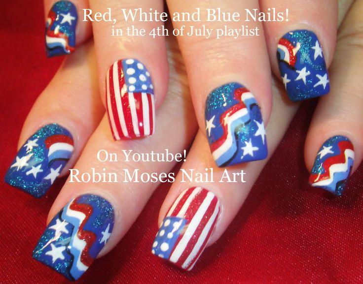 Nail Art Tutorial | DIY 4th of July Nails | Red White and Blue Flag Nail...