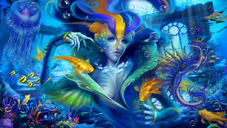 Сказка о русалке Эмайфи и ворчливом морском дракончике Иттуэ. Коллаж в стиле фэнтези