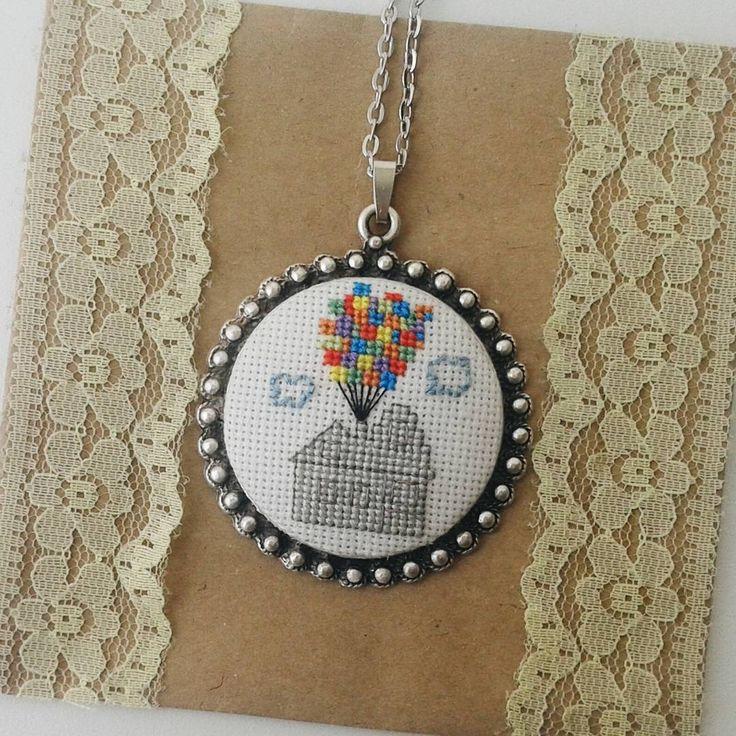 up! • #handmade #crossstitch #necklace #pendant #beautiful #art #artoftheday #photooftheday #fashion #instafashion #vsco #vscocam #film #up #hollywood #animation #instamood #tagsforlikes #likeforlike #handembroidery #instalike #instadaily #accesories #jewelry #10marifet