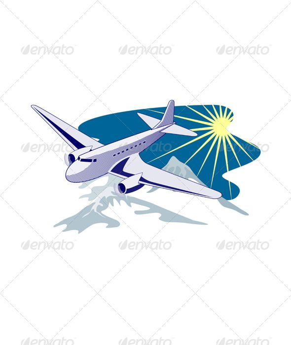 Propeller Airplane Retro ...  air, airline, airliner, airplane, artwork, engine, graphics, illustration, isolated, plane, propeller, transit, transport, transportation, travel