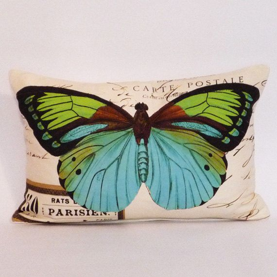 butterfly Pillow Coverbutterflies pillow coverfrench by Serenesoul