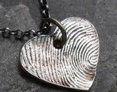 Fingerprint Custom Fine and Sterling Silver Necklace - 1 print charm MADE TO ORDER