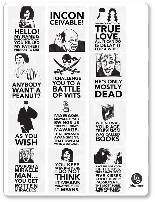 Princess Bride Quote Full Box Planner Stickers