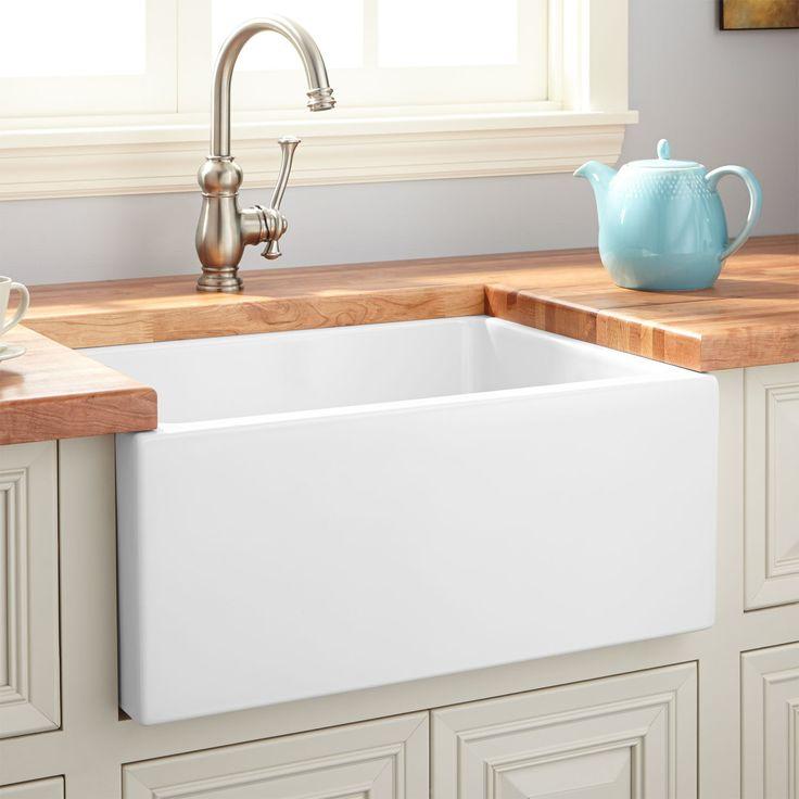 """24"""" Adams Fireclay Reversible Farmhouse Sink - Smooth Apron - White - Farmhouse Sinks - Kitchen Sinks - Kitchen"""