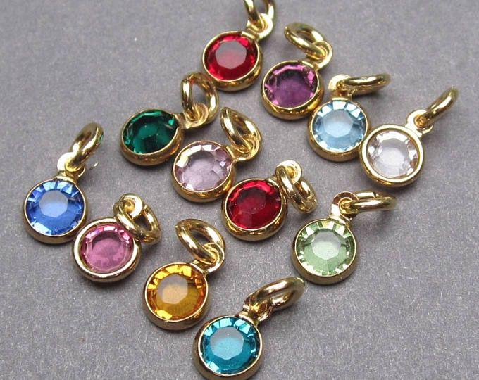 Swarovski Birthstone Charms 4mm Swarovski Crystal Channel Etsy Personalized Jewelry Birthstone Charms Charms Swarovski