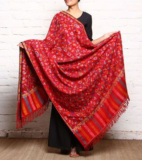 Red Kani Hand Woven Pure Pashmina Shawl