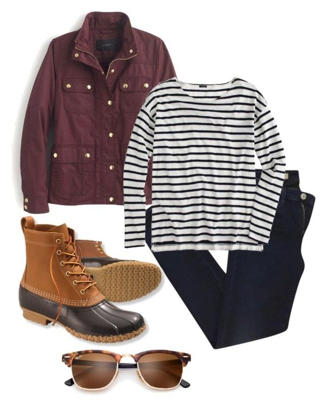 """stripes and bean boots"" by mallory-nicole ❤ liked on Polyvore featuring AG Adriano Goldschmied, J.Crew and L.L.Bean"