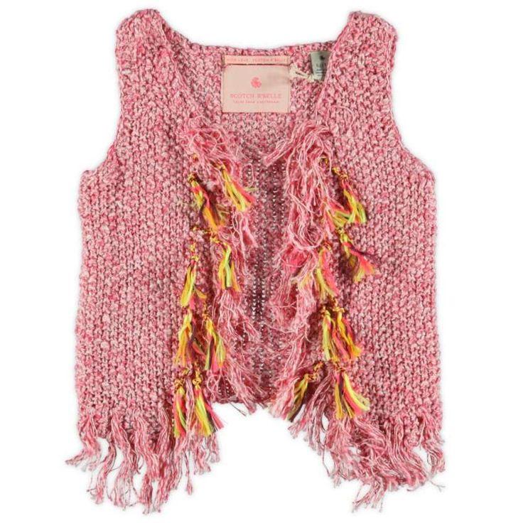 Gilet a maglia: foto e modelli - Gilet rosa con frange