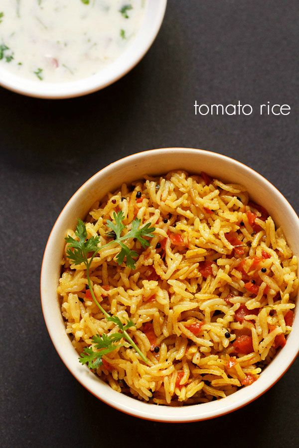 tomato rice recipe - spicy south indian tomato rice recipe with step by step photos.  #tomato #rice