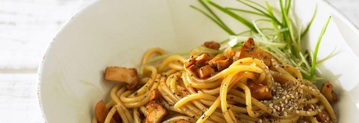Gebratene Eierschwämme mit Spaghetti
