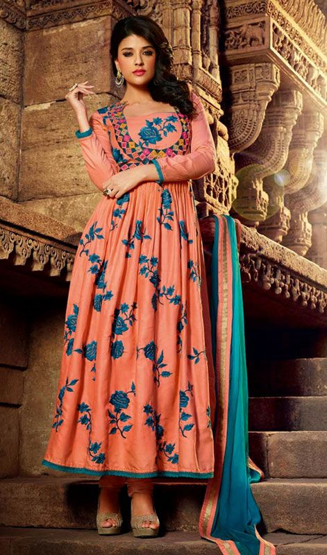 Pale Orange Embroidered Cotton Long Anarkali Suit #Buy-AnarkaliSuit #LatestAnarkali-Suit-Designs