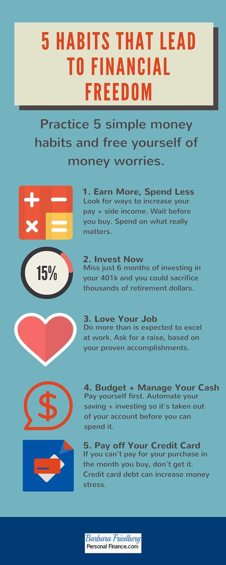 5 Habits to Help You Achieve #Financial Freedom-Simple lifestyle hacks can lead to a successful financial future.