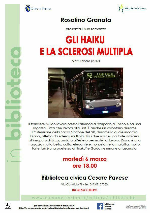 """Vi aspetto domani sera alla biblioteca civica """"Cesare Pavese"""" di Torino per la presentazione del mio nuovo romanzo #glihaikuelasclerosimultipla, non mancate! ;)"""