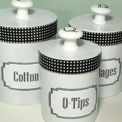 Reuse old gift canisters or tins.  Add a knob handle, paint, embellish etc, label and Ta Da!  Helpful and free new storage!