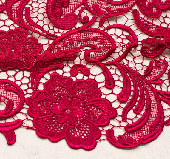 Wine Red Lace Fabric Crochet Lace Fabric  Bridal Lace by Retrolace, $39.99