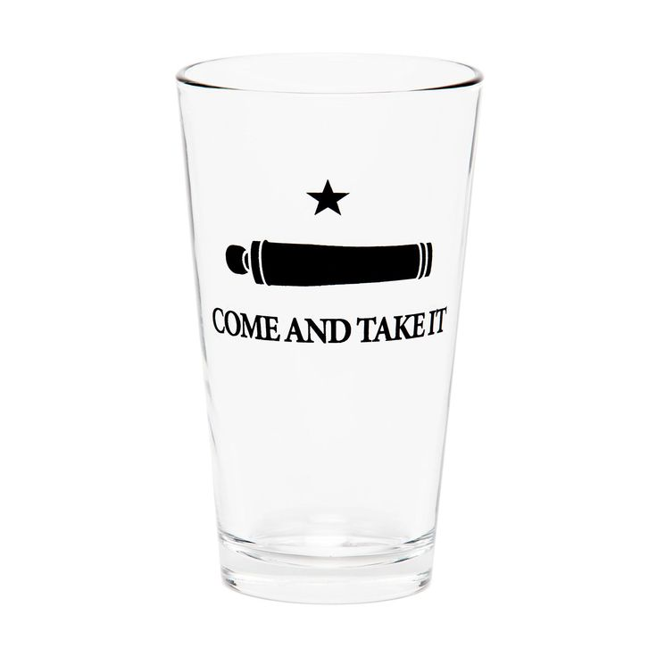 Come and take it. Printed in a stark black against the clear pint glass, the image of the Gonzales battle flag boldly shows your Texas pride. In one of the incidents that sparked the Texas Revolution, Mexican troops marched on Gonzales with orders to seize a small cannon that had been given to the citizens as a defense against Indian raids. Incensed at the government crackdown, Texans responded with armed force and this defiant banner. Though the incident of October 2, 1835, ended without…