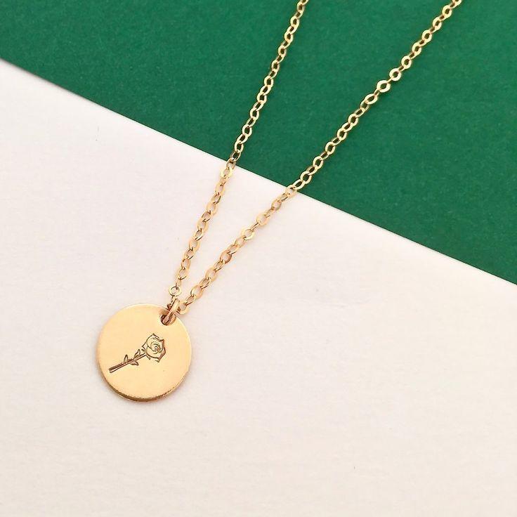 Botanical rose necklace - gold disc pendant