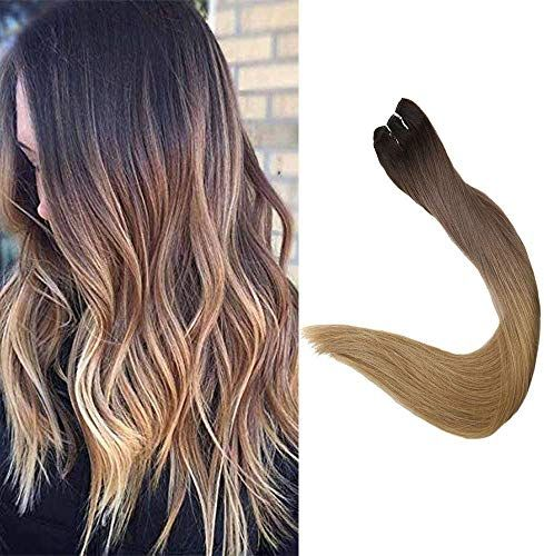 New Full Shine 22 inch Remy Sew Hair Extensions Color #2 Darkest Brown Fading #6 #27 Blonde Straight Hair Weft Ombre Balayage Hair 100g Full Head Hair online shopping
