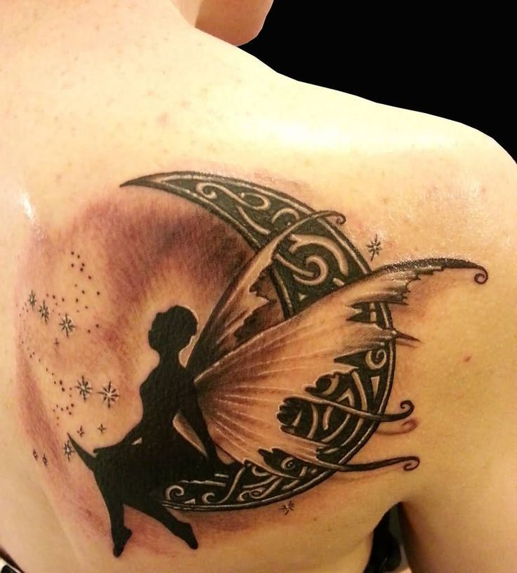 Realistic Fairy On Celtic Crescent Moon Tattoo On Right Back Shoulder Realistic Fairy On Celtic Cresce In 2020 Fairy Tattoo Half Moon Tattoo Moon Tattoo Designs