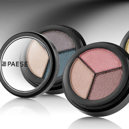 PAESE COSMETICS: Opal eye-shadows: Smooth, soft consistency, shimmering effect. Vitamins A, C and E. NO PARABENS. NO ALLERGENS. Triple colour sets for daytime and evening looks.