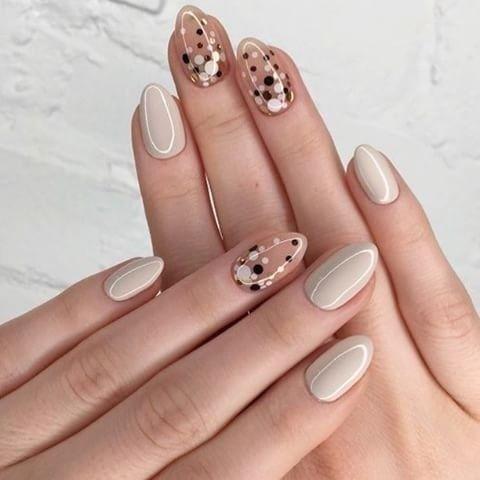 Nackt- und Konfettinägel, der tägliche Nagel, Nagel des Tages, ovale Nägel #k … – Einzigartige Nageldesigns