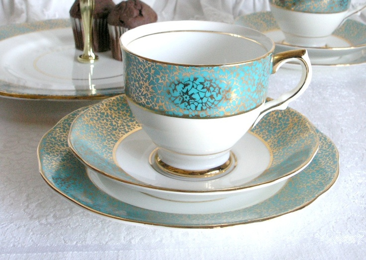 Bone china tea set vibrant teal blue and gold Salisbury tea cup saucer and plate a lovely set for a perfect tea party & 87 best Cups \u0026 Saucers: Stanley \u0026 Salisbury images on Pinterest ...