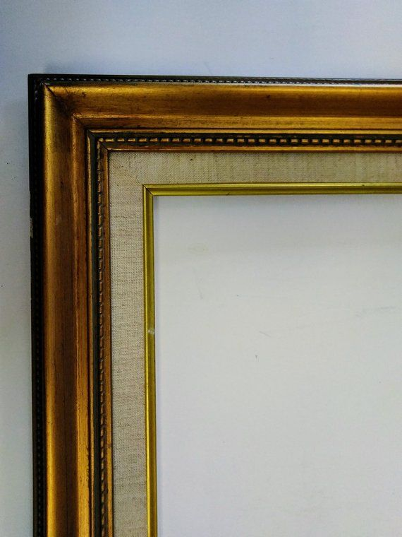 16 X 20 Picture Frame Gold Wood Linen Liner Art Photo Painting Etsy Picture Frames Gold Picture Frames Gold Wood