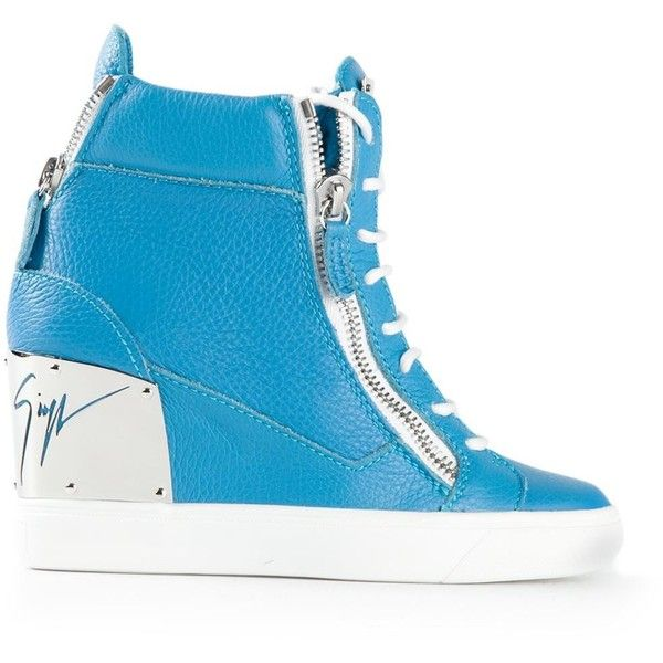 Giuseppe Zanotti Design Concealed Wedge Hi-Top Sneakers ($598) ❤ liked on Polyvore featuring shoes, sneakers, tênis, blue, giuseppe zanotti sneakers, blue high top shoes, lace up sneakers, high top shoes and hidden wedge heel sneakers