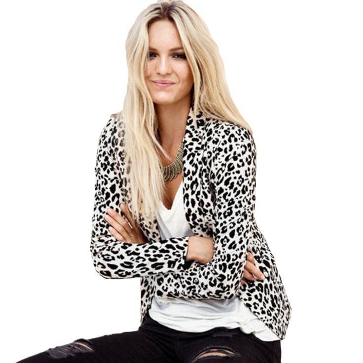 Женщины блейзеры куртки длинная   рукав приталенный пиджак леопардовый принт пиджак Feminino верхняя одежда и пальтокупить в магазине Five Star Outlet наAliExpress