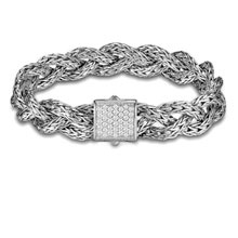 John Hardy Sterling Silver Small Braided Classic Chain with Pave Diamond Clasp - Lux Bond & Green