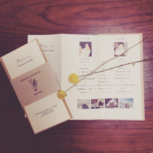 ひぃひぃ言いながら作りました。 プロフィールブック兼メニュー表。  旦那さんの希望でシンプルなものに。  #プレ花嫁 #プロフィールブック #メニュー表