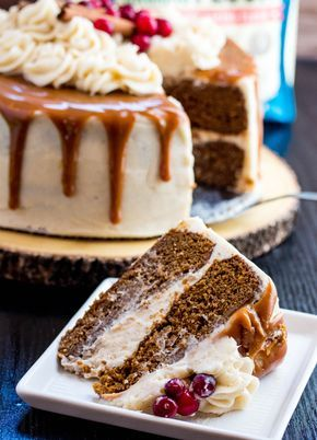 Gingerbread Cake with Cinnamon Cream Cheese Frosting and Caramel Drizzle - ***** Yields 1 two layer cake.
