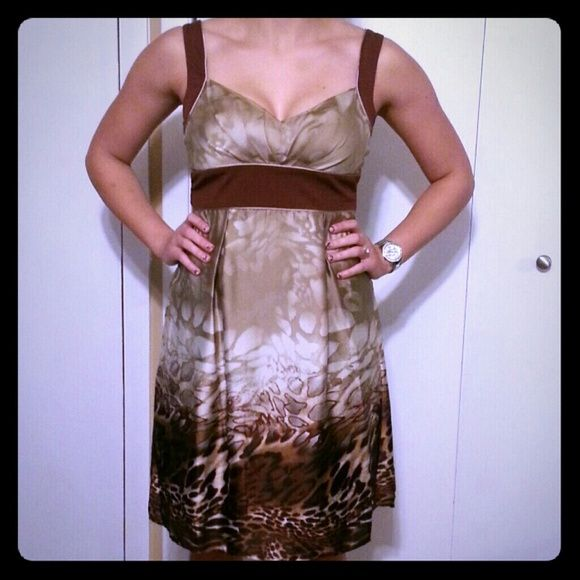 "Sleeveless Animal Print Party Dress Zipper in the back 95% Polyester 5% Spandex 34"" long Dresses Midi"