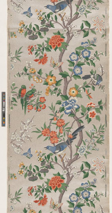 Wallpaper inspired by popular Chinoiserie influence, France, 1900–30s   2001.281.1132 -- Historic New England