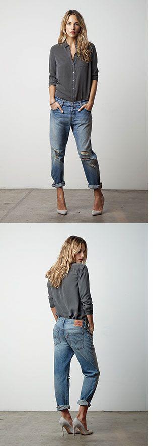 Levis 501 ® CT Jean, women denim jeans boyfriend, great outfit, basic shirt