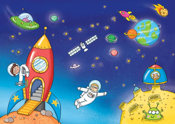kate daubney, space, alien, planet, rocket, meteor, stars, childrens illustration