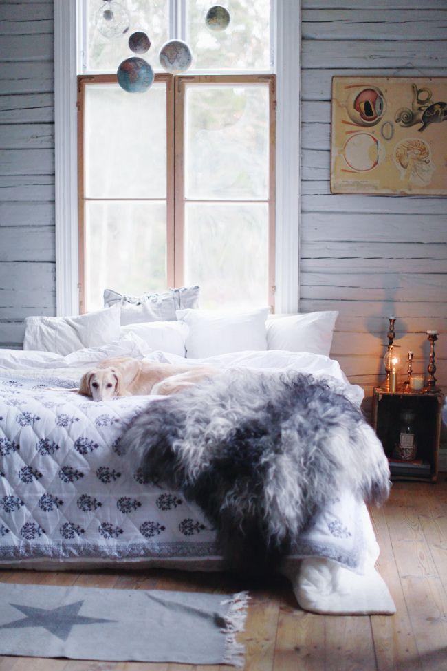 Kandelaars, beddengoed, schapenvacht... en hond!