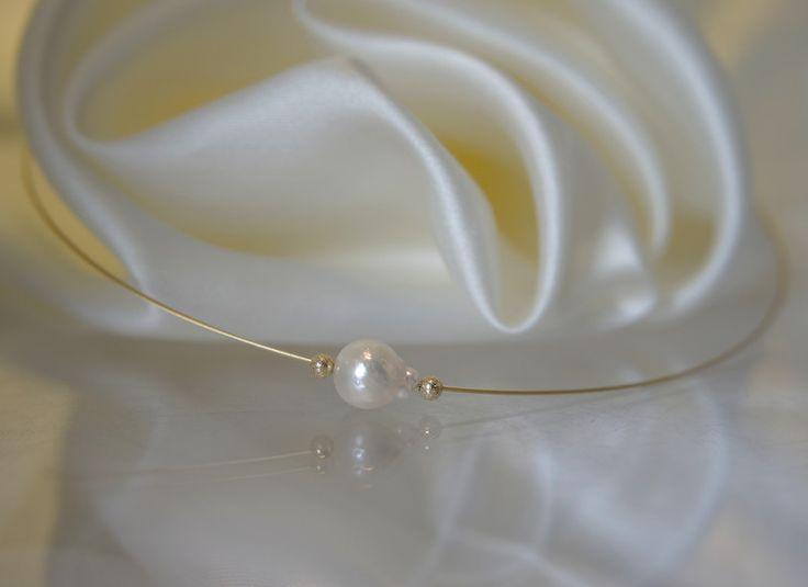Perlenketten - Schwebender Barock Akoya Perle Vergoldet Collier - ein Designerstück von Morgentau-Schmuck bei DaWanda