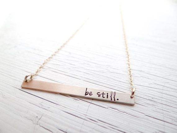 Be still. Christian,Hand Stamped, Bar Necklace by BBeadazzled