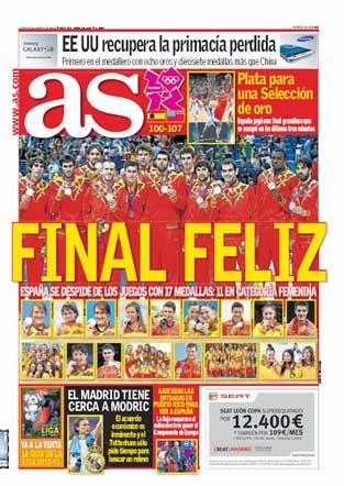 Final olimpiadas 2012. España plata en baloncesto