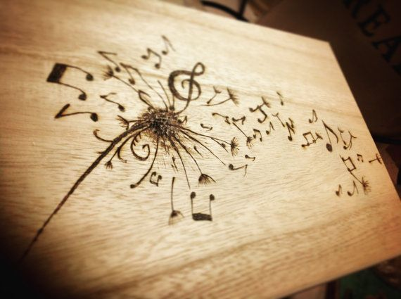 Dandelion musical notes wooden box, tattoo Pyrography art, make a wish, keepsake box, heirloom gift, flower art, dandelion seed, memory box
