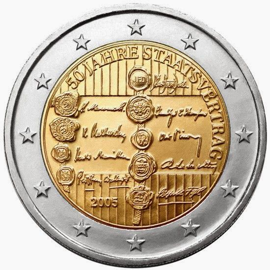 2 euro coins - Austria 2005, 50th anniversary of the Austrian State Treaty. Commemorative 2 euro coins from Austria