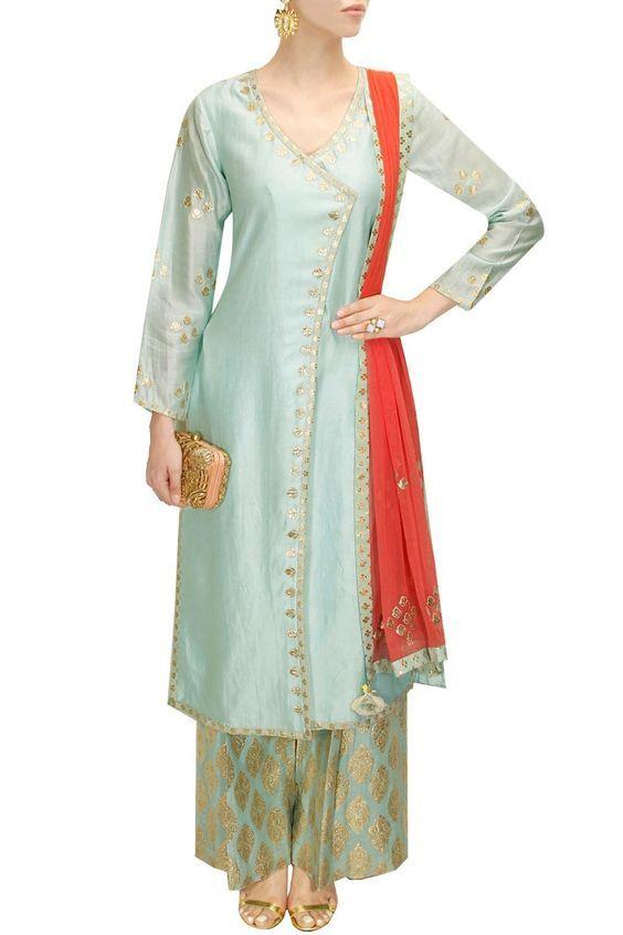 Pale blue and pale pink gota patti work kurta set - Amrita Thakur