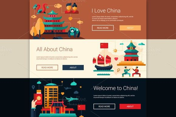 Travel to China Website Banners Set. Travel Infographics. $8.00