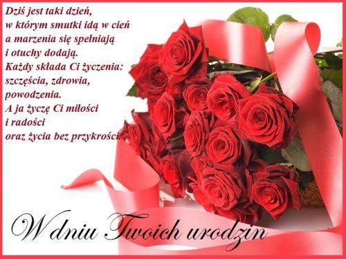 Kartka Pod Tytulem Najpiekniejsze Zyczenia Urodzinowe Dla Ciebie Birthday Wishes Happy Birthday Flowers