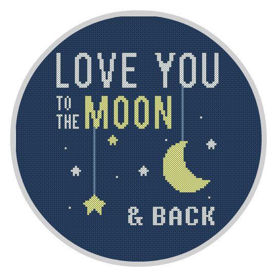 Love you to the moon & back Cross Stitch Pattern PDF Nursery