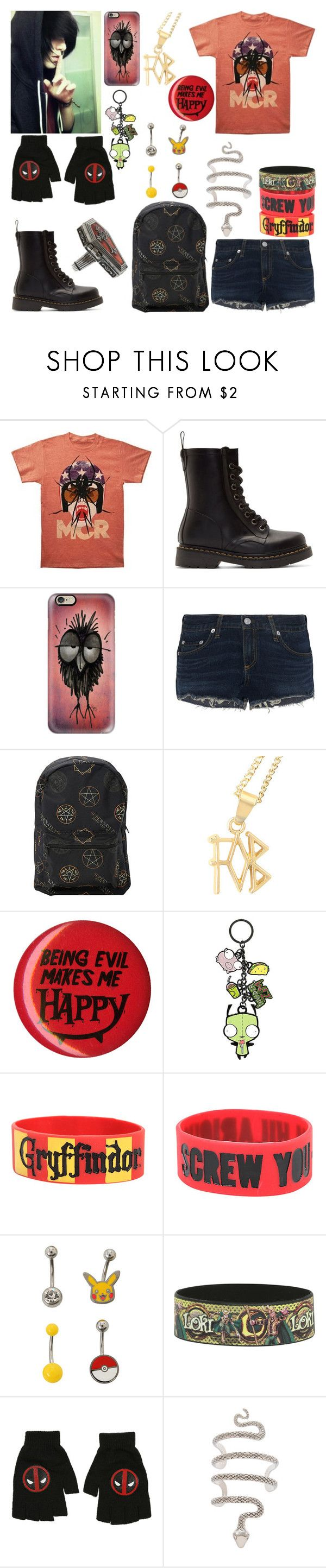 """I need to pee"" by frerardforever ❤ liked on Polyvore featuring Dr. Martens, Casetify and rag & bone"