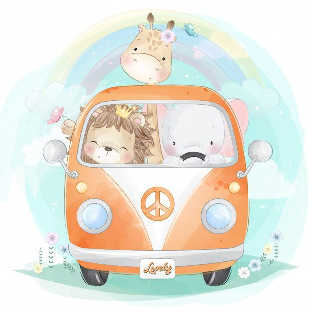 Cute Little Animals Driving A Car Cute Animal Illustration Baby Zebra Drawing Cute Little Animals